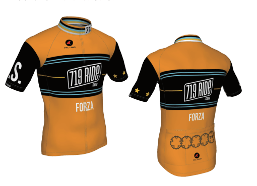The front and back of the 719 Ride jersey