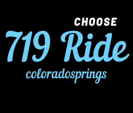 The design for the Choose 719 Ride Colorado Springs t-shirt with blue words