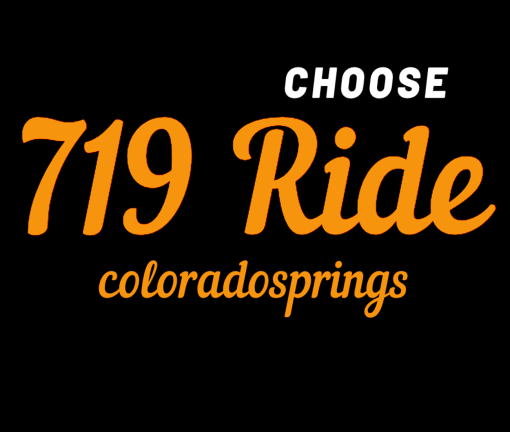 The design for the Choose 719 Ride Colorado Springs t-shirt with orange words