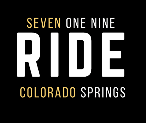 The design for the 719 Ride Colorado Springs t-shirt with yellow words