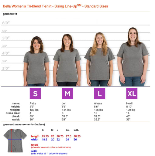 A sizing chart for a woman's t-shirt
