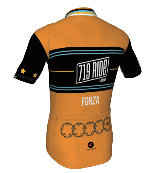 The back of the 719 Ride cycling jersey