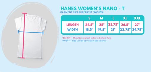 women's t-shirt size chart for 719 Ride t-shirts