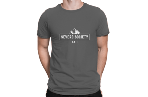 A man modeling the DIY 719 Severo Society men's t-shirt