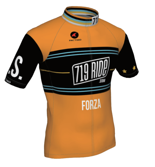 The front of the 719 Ride cycling jersey