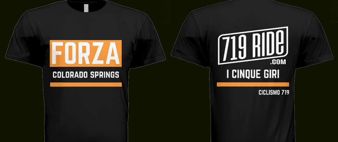 The front and back of the Forza Colorado Springs 719 Ride t-shirt