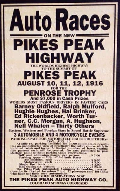 poster promoting the 1916 pikes peak hill climb race