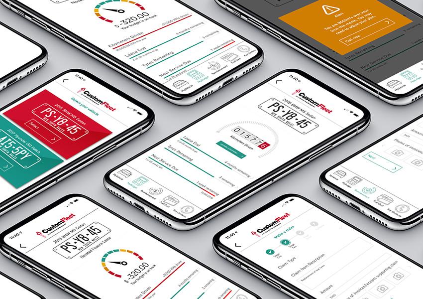 Custom Fleet App screenshots featured on a range of smartphones