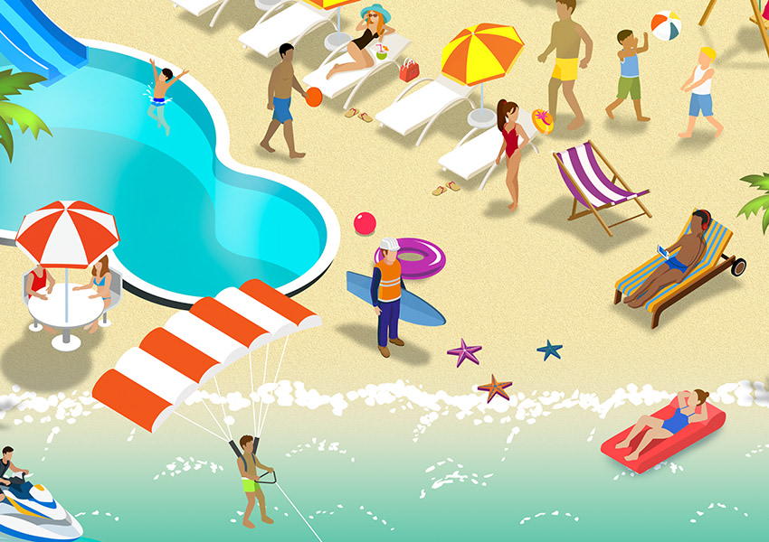 Closeup from the BHP Shareplus campaign with illustrations of leisure activity