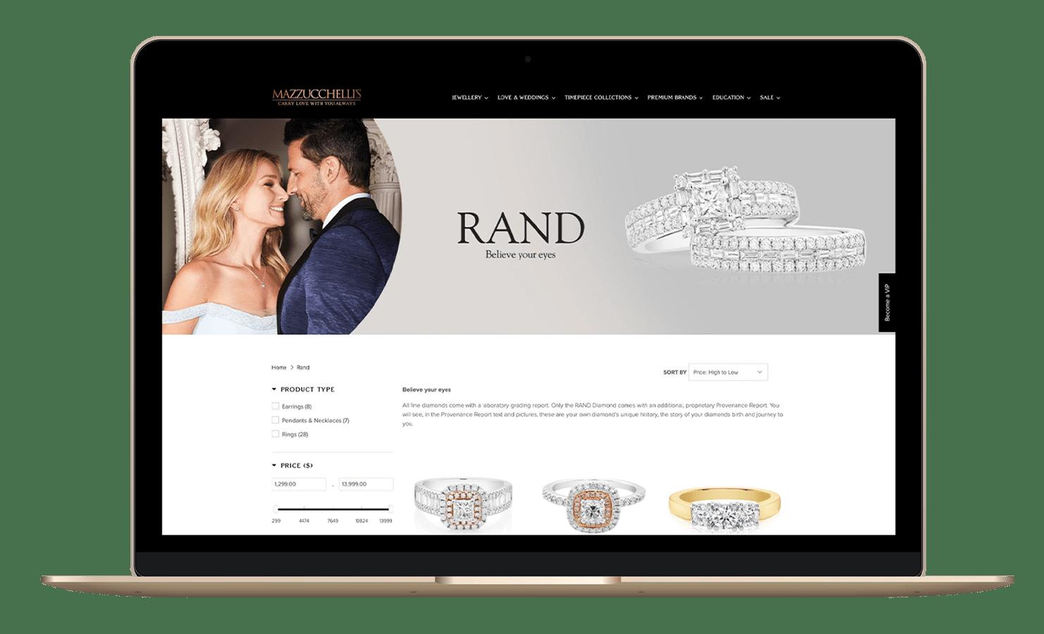 Mazzucchelli's Website –Rand Diamonds on Mazzucchelli's Jewellery Website