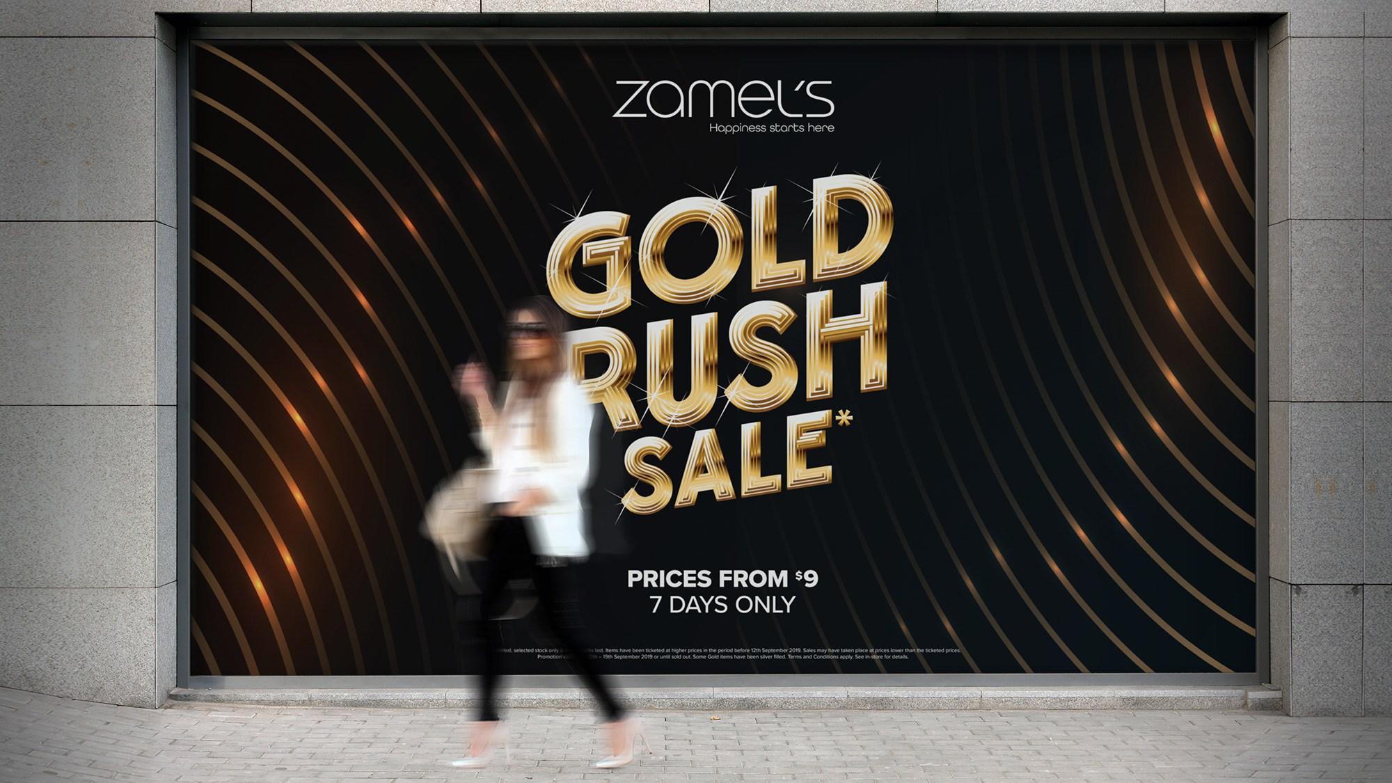 Zamel's Jewellers Gold Rush Advertising Outdoor Window Decal