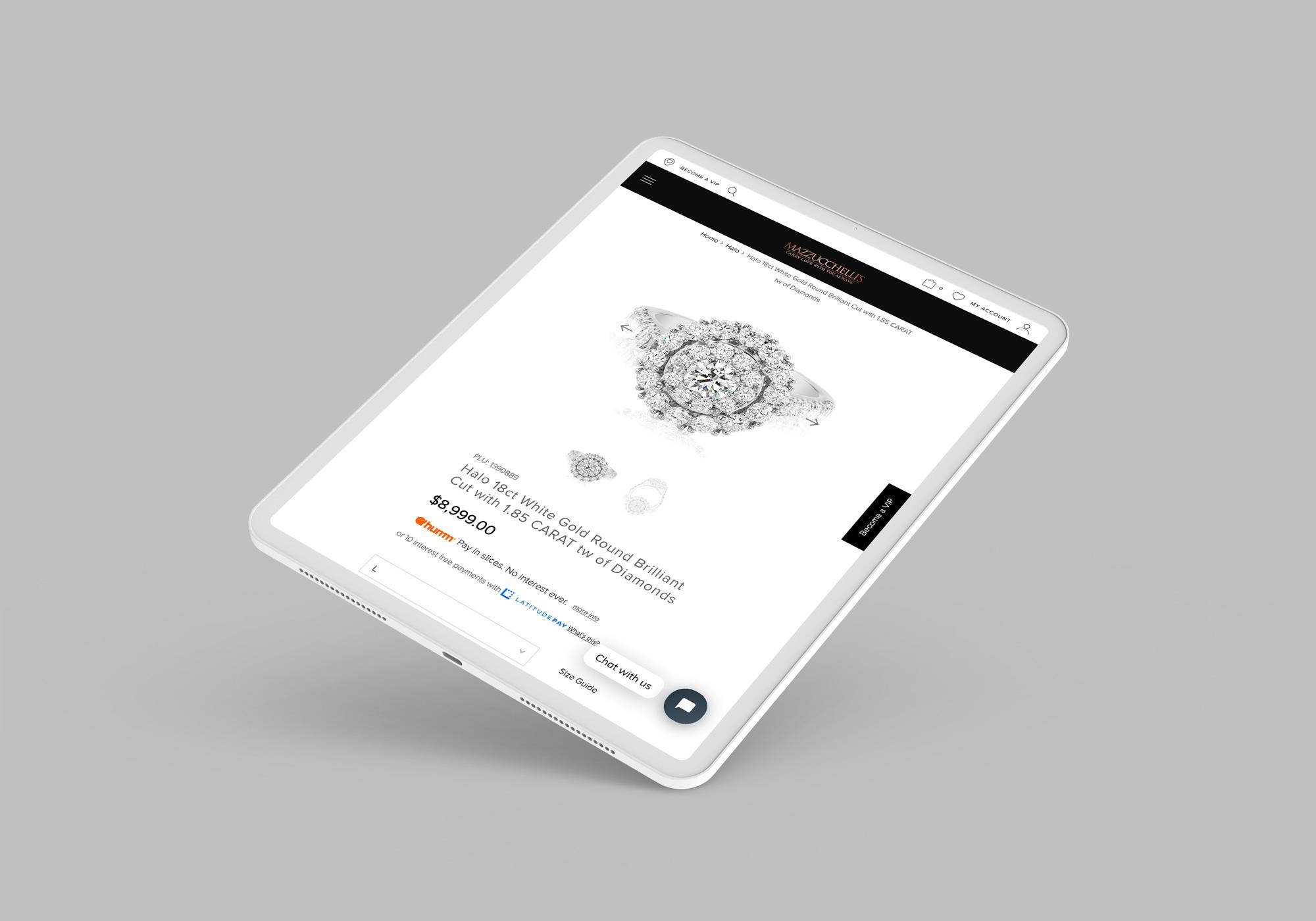 Mazzucchelli's Website eCommerce Creative on iPad