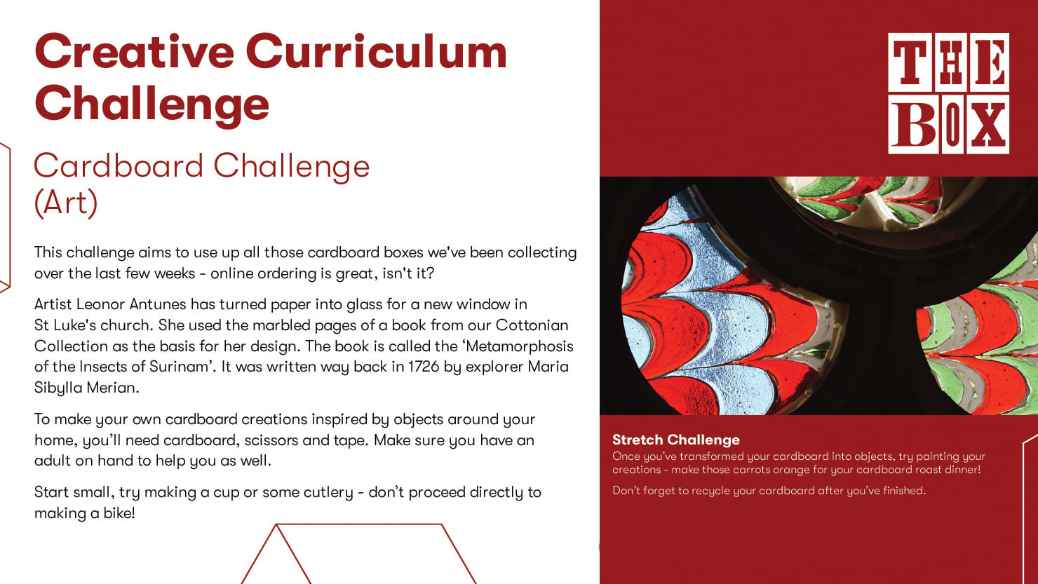 Graphic for The Box's cardboard curriculum challenge