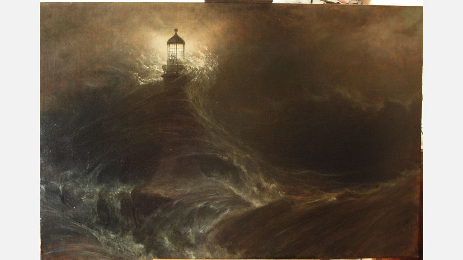 William Daniell's 'Eddystone Lighthouse, During a Storm' after conservation