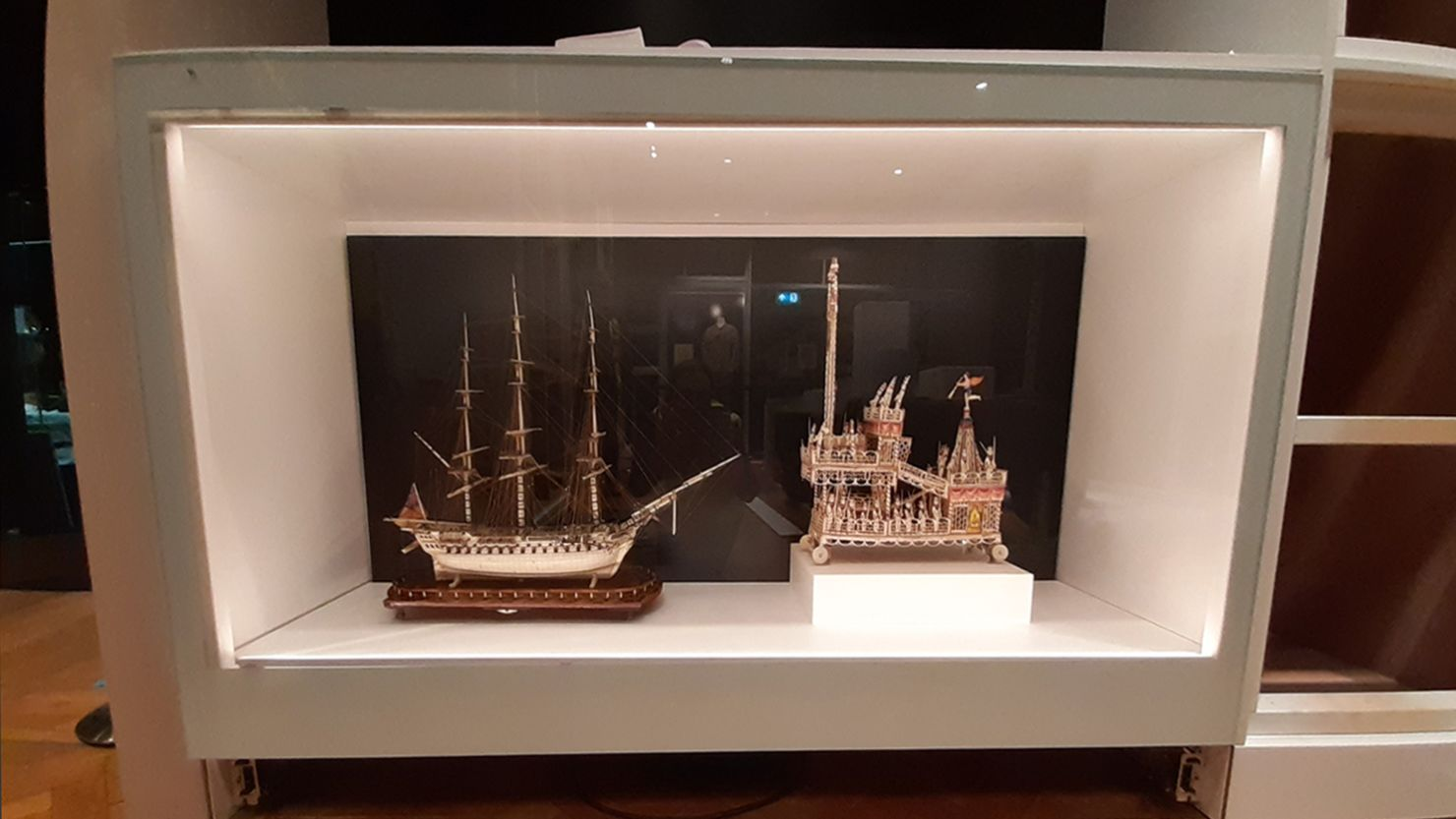 Bone model of a ship in a display case