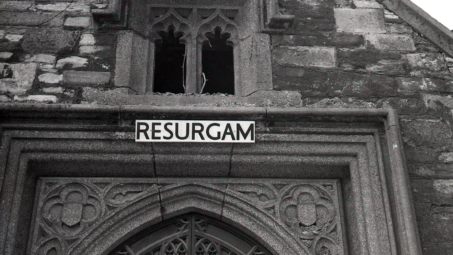 Resurgam sign on St Andrew's Church. Courtesy of The Box, Plymouth
