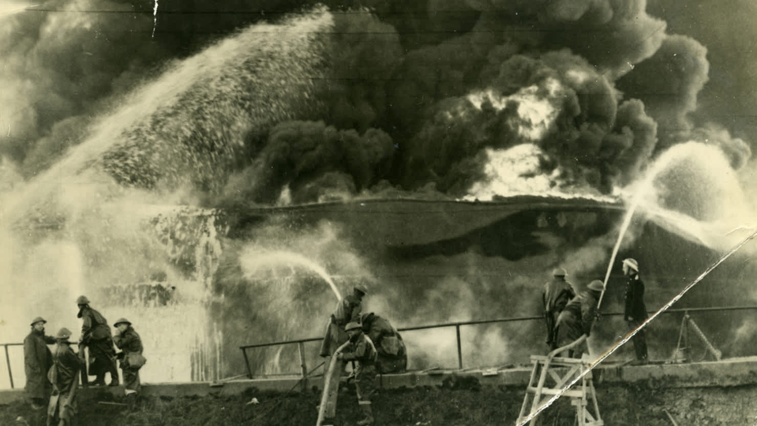 Firefighters during the Blitz in Plymstock, courtesy of The Box, Plymouth