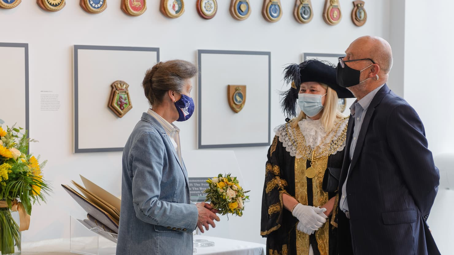 HRH The Princess Royal with a bouquet of flowers