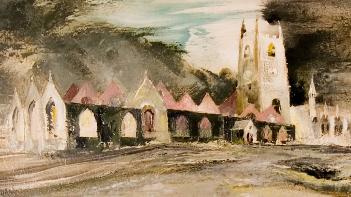 Detail from 'Aftermath of The Blitz' by Frederick T.W. Cook from the collections at The Box, Plymouth