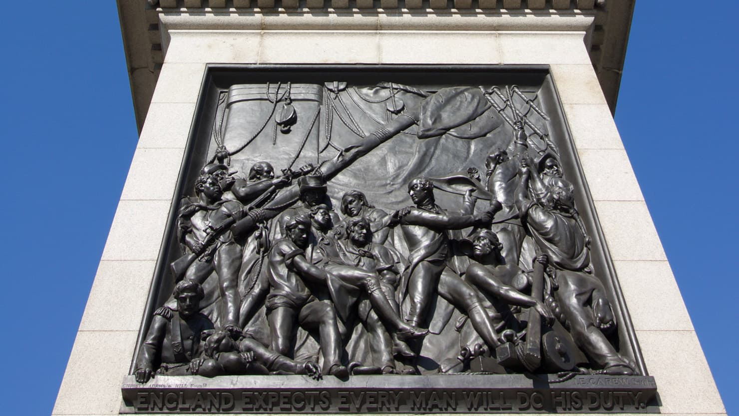 Photograph of the bronze relief at the foot of Nelson's column