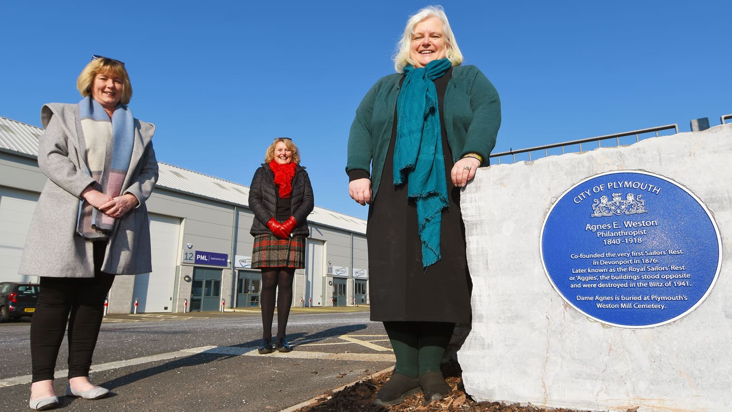 From L-R: Councillor Sally Haydon, Councillor Sue Dann and Councillor Jemima Laing visited the Aggie Weston plaque to mark International Women's Day 2021