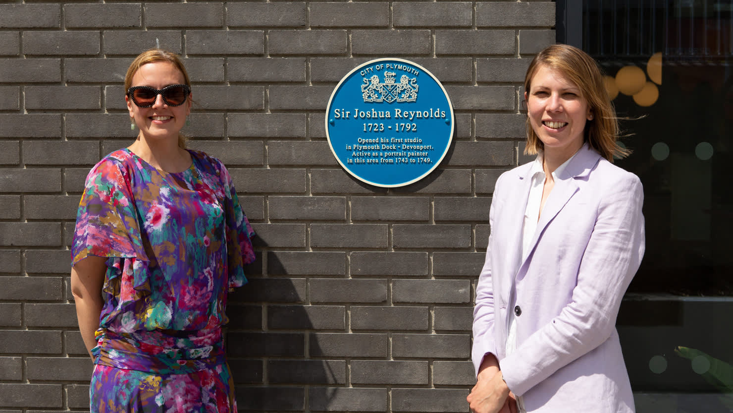 Louisa Blight, Collections Manager and Emma Philip, Senior Curator with the new plaque