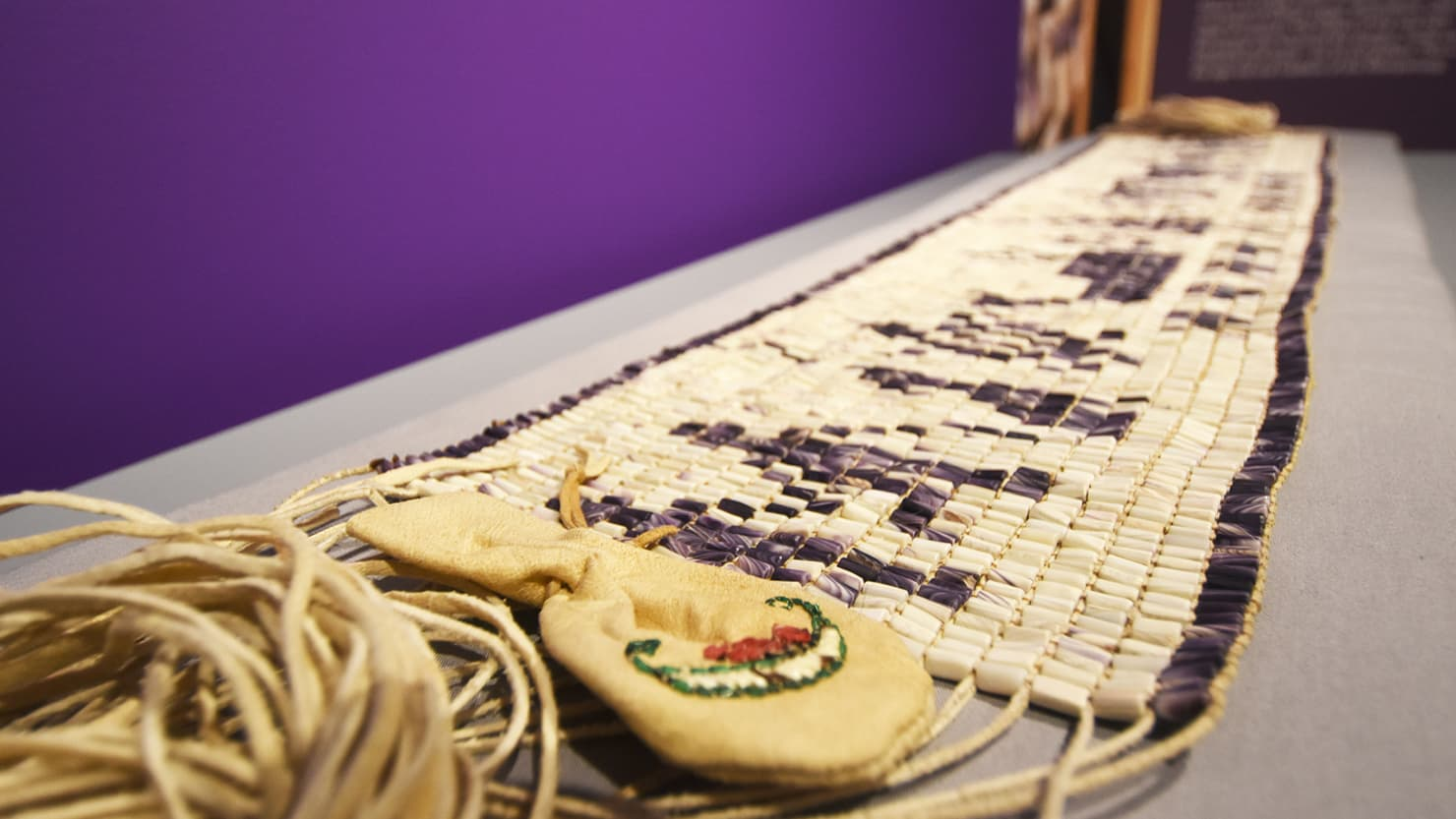 Wampum belt on display at The Box, Plymouth
