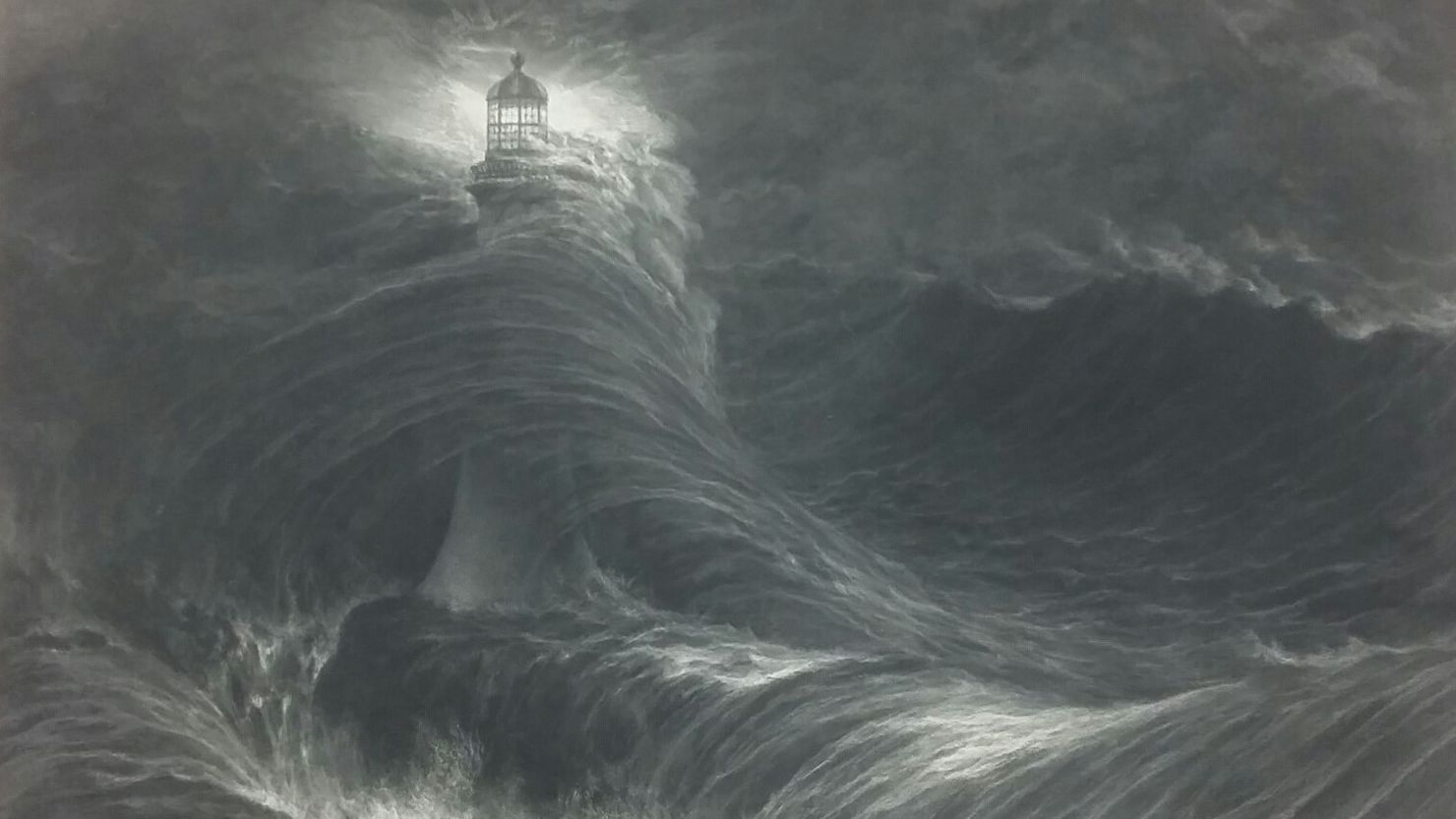 Print (detail) of William Daniell's 'Eddystone Lighthouse, During a Storm'
