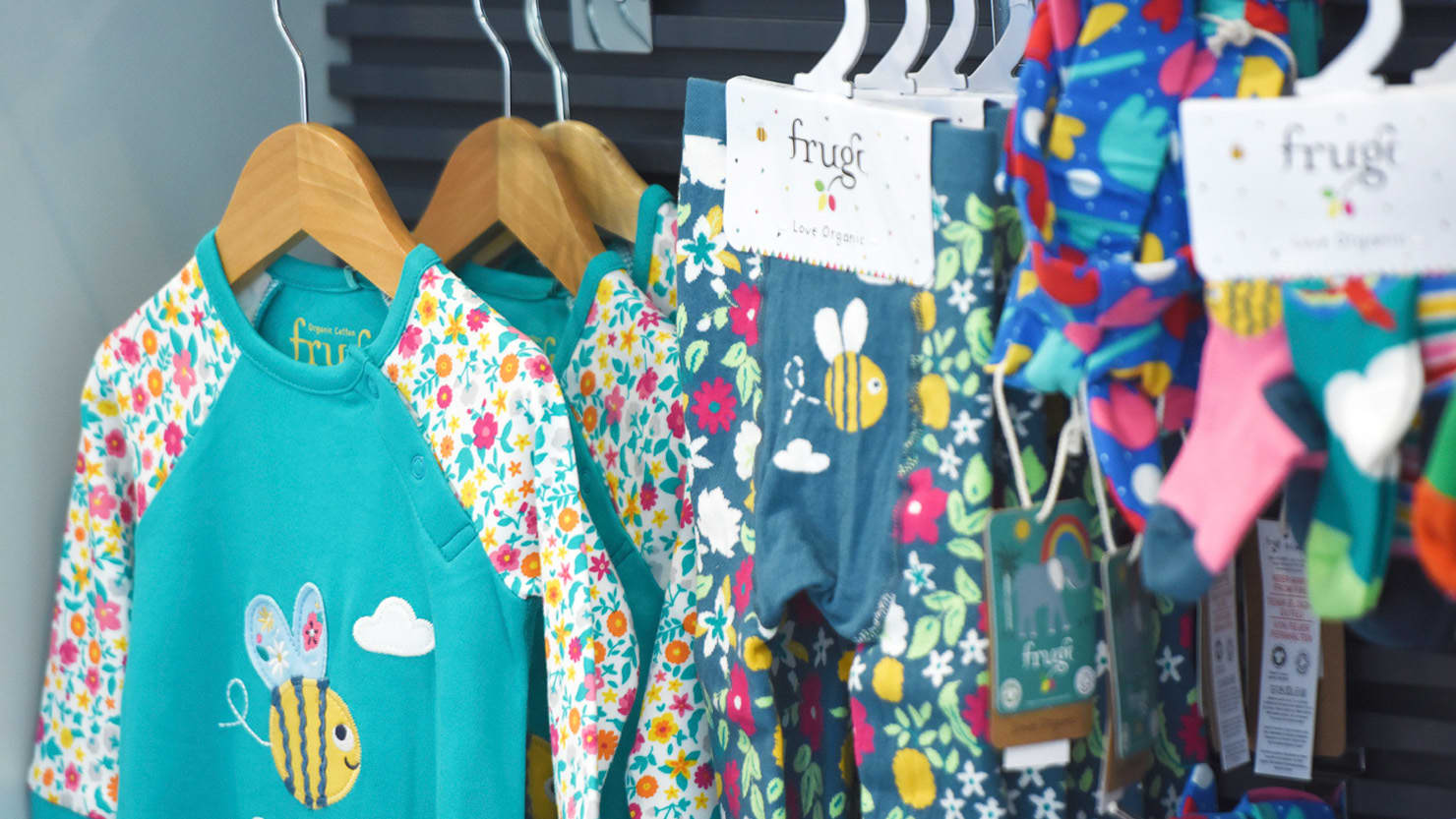 Frugi products on display in the shop at The Box, Plymouth
