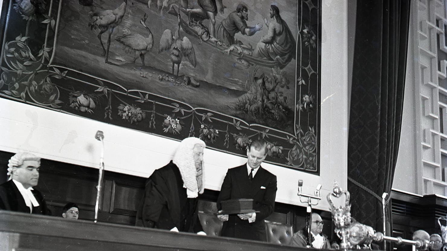 Prince Philip is installed as Lord High Steward at Plymouth Guildhall in March 1960 © Mirrorpix