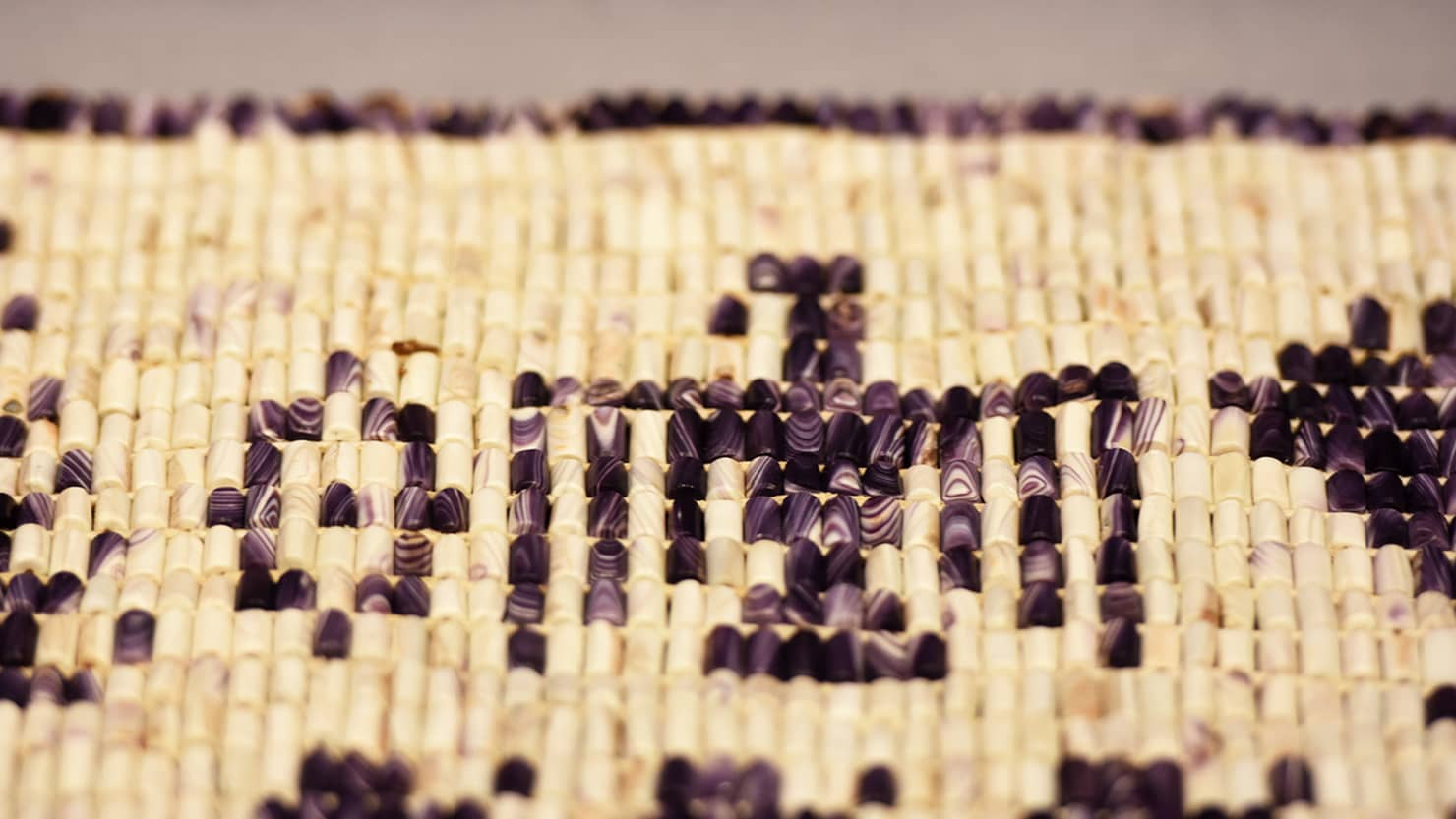 Close up of part of the detail from the new wampum belt on display at The Box