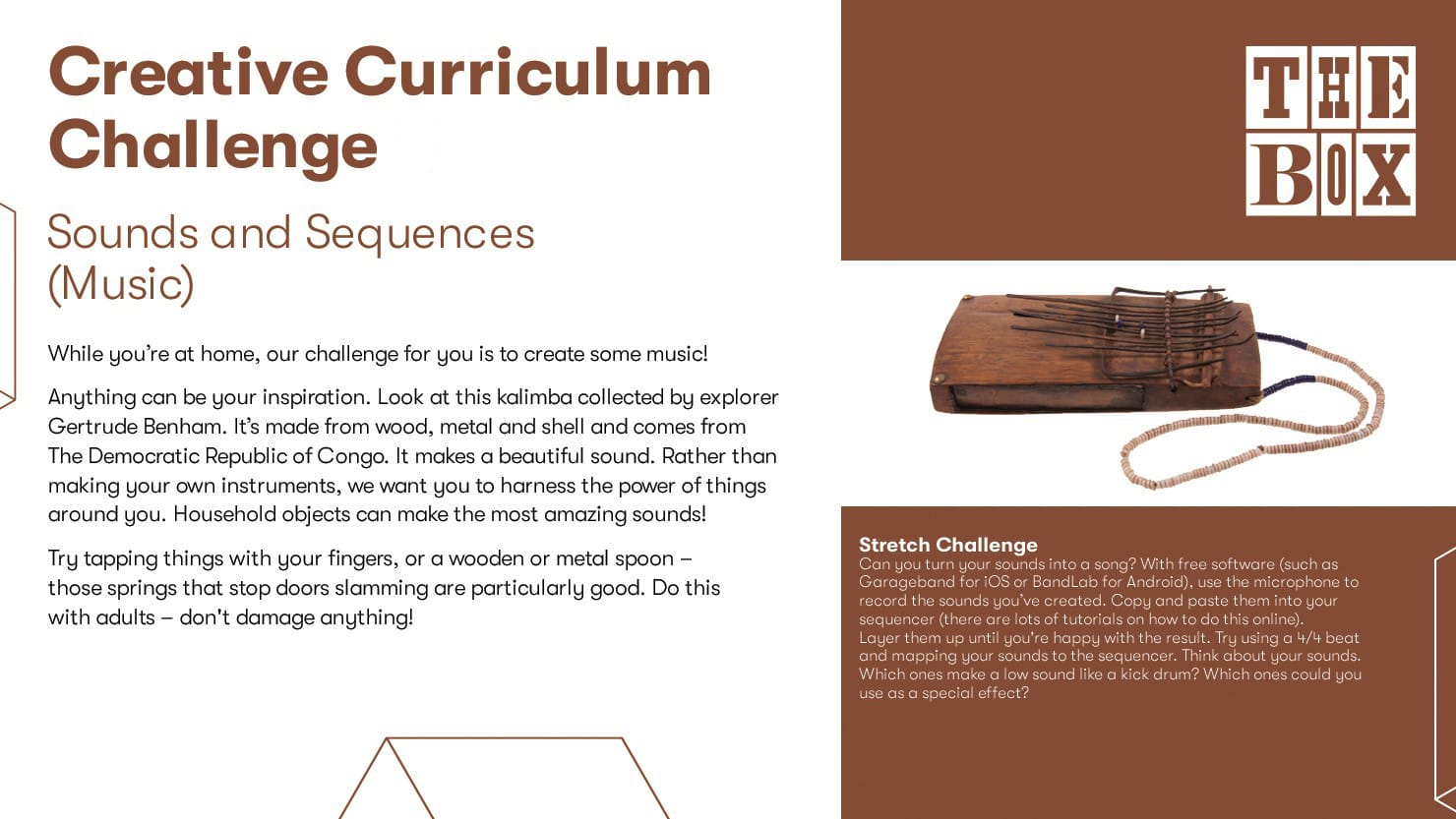 Graphic for The Box's music curriculum challenge
