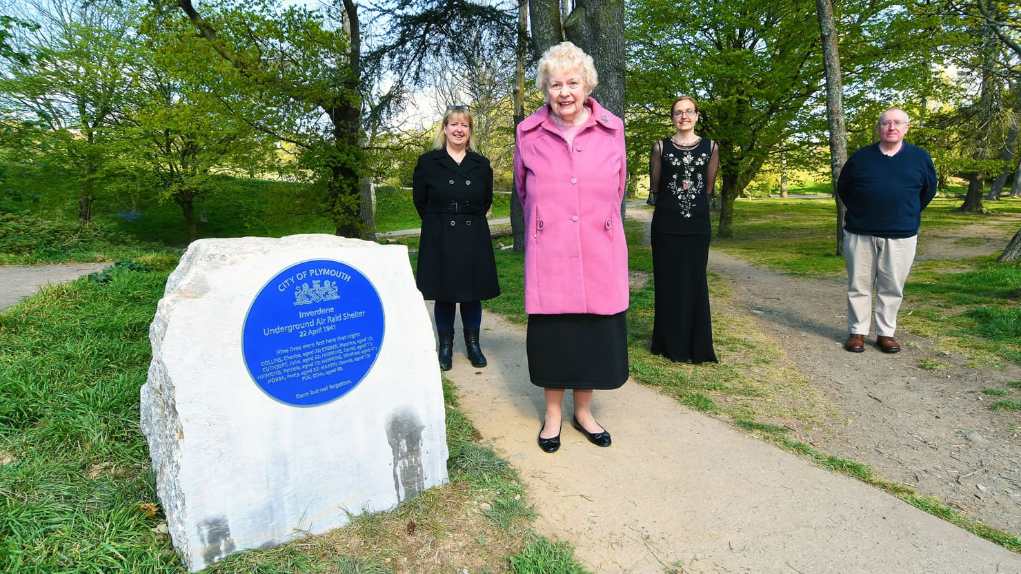 From L-R: Rachel Eyley (daughter of Shirley Stapley); Shirley Stapley; Louisa Blight, Collections Manager at The Box; Alan Barclay, Collections Assistant at The Box with the Inverdene air raid shelter plaque.