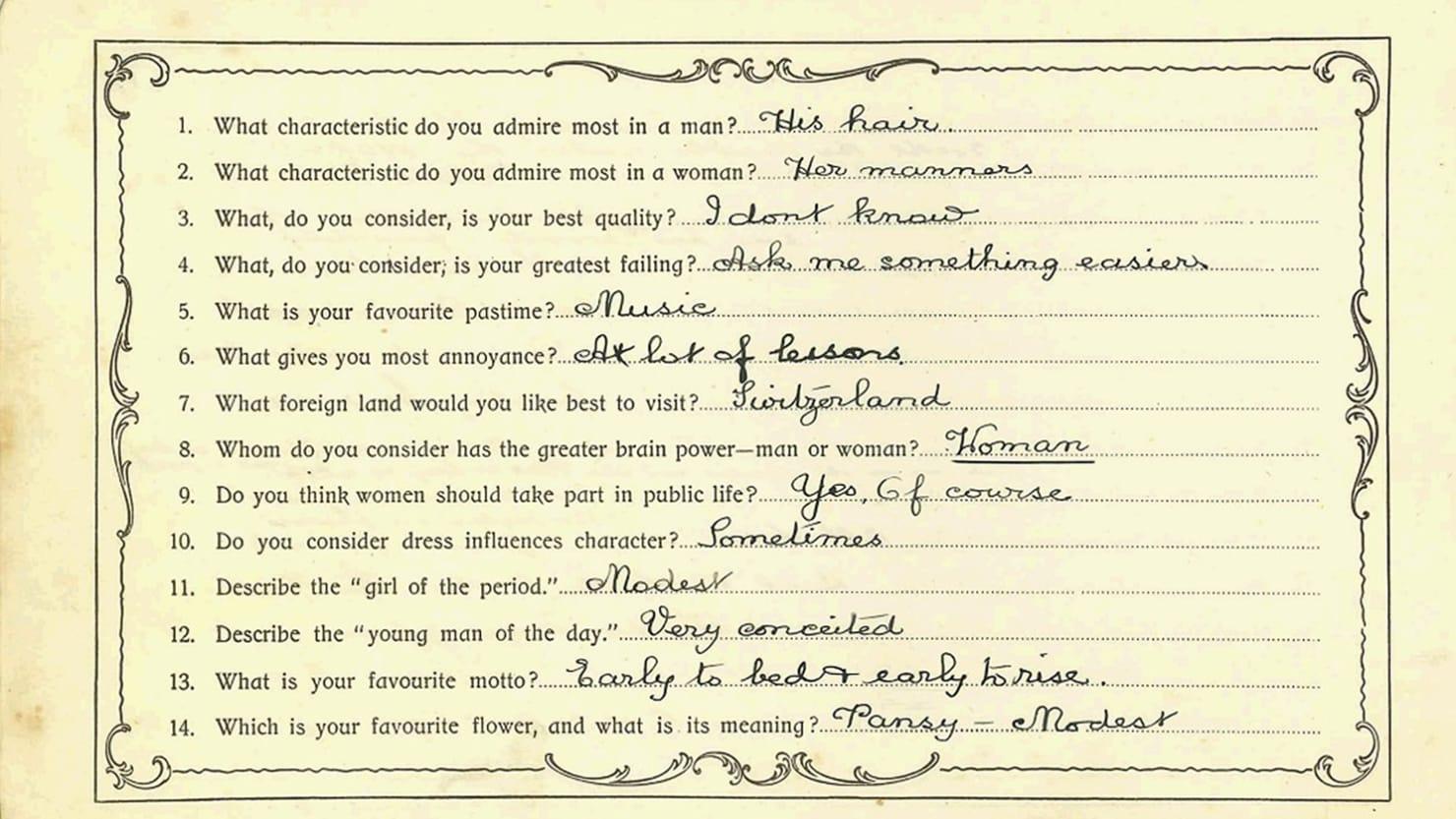 Autograph Book Image questions 1-14