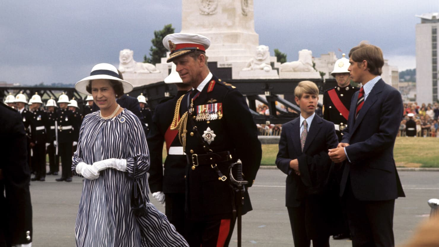 Queen Elizabeth II and the Duke of Edinburgh review the Royal Marines on Plymouth Hoe during the Queen's Silver Jubilee Tour of Great Britain in 1977 (Press Association)