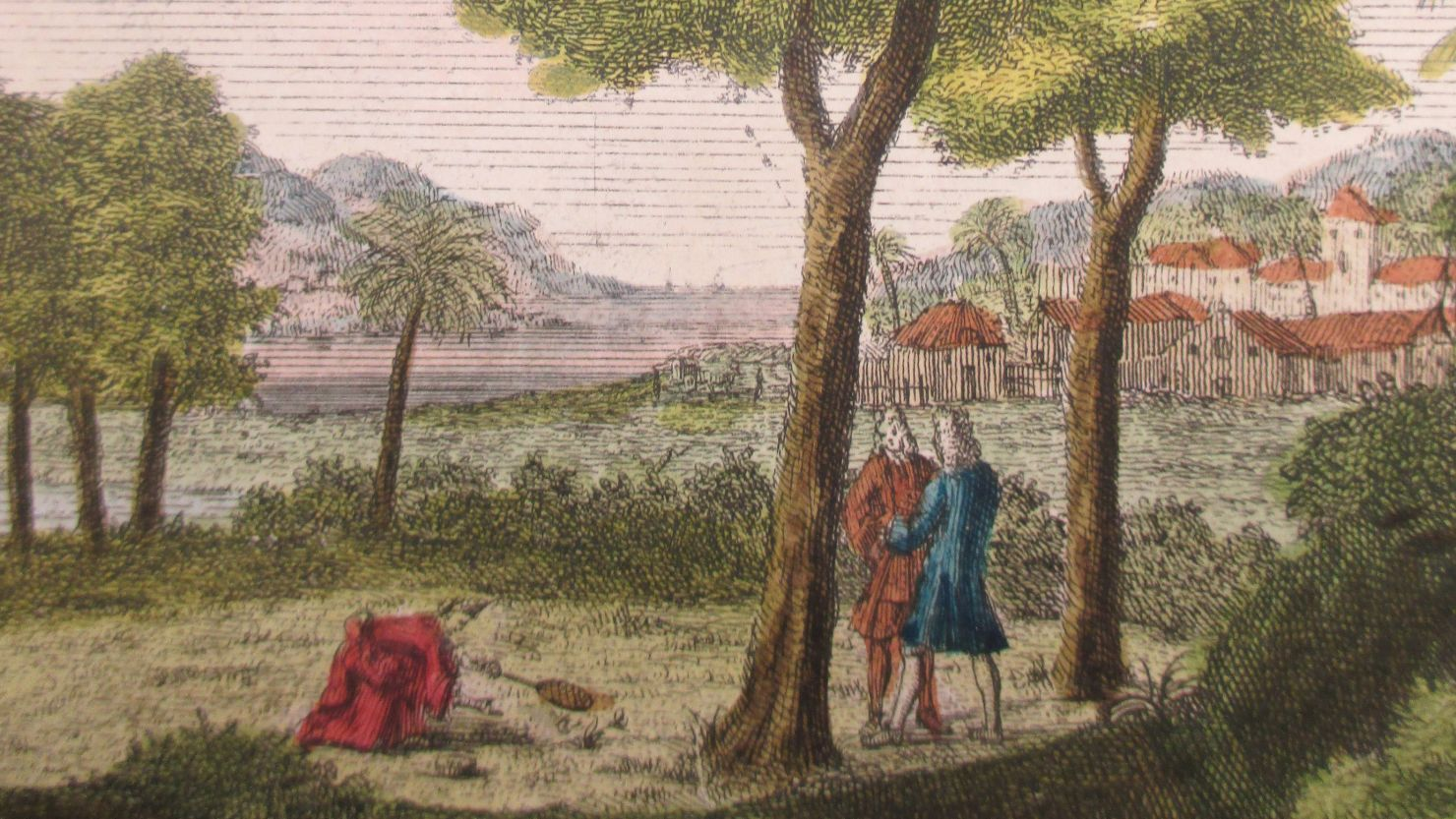 Illustration of Maria Sybilla Merian in the field from 'Insects of Surinam'