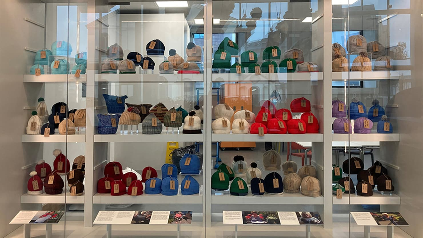 Hat display in The Box during December 2020