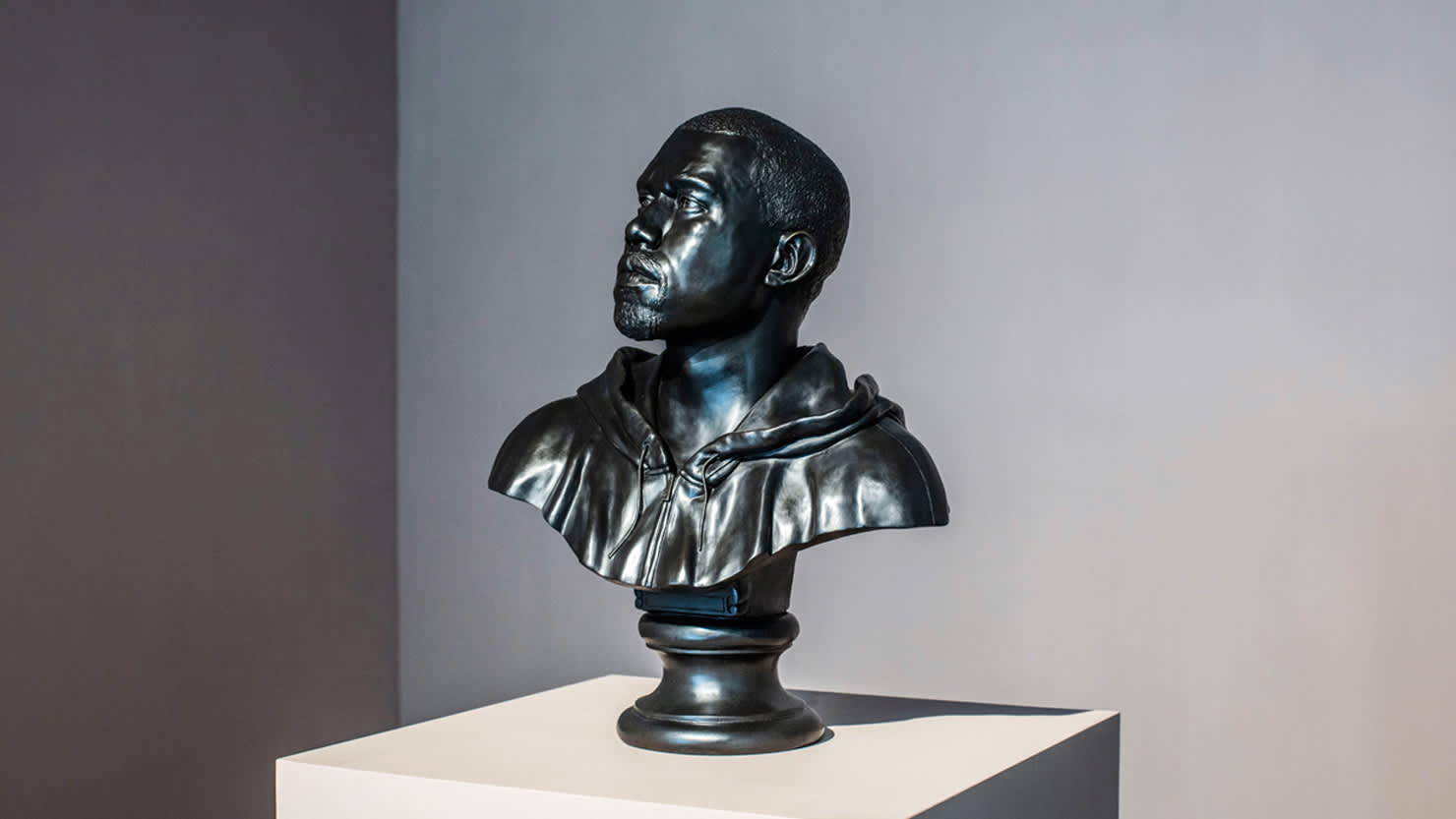 Kanye, 2015 by Kehinde Wiley on display in Plymouth's Levinsky Gallery, autumn 2020
