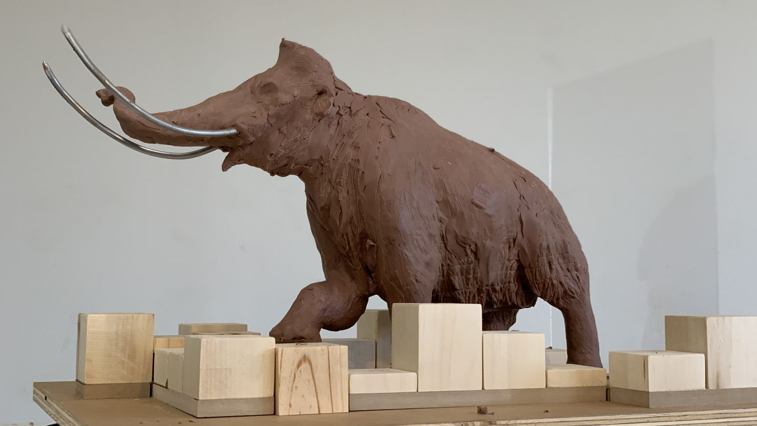 A clay maquette of a woolly mammoth