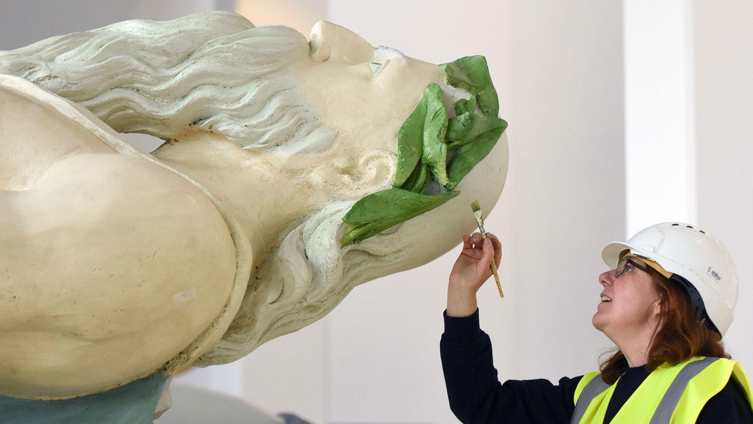 The Tamar figurehead undergoing conservation work