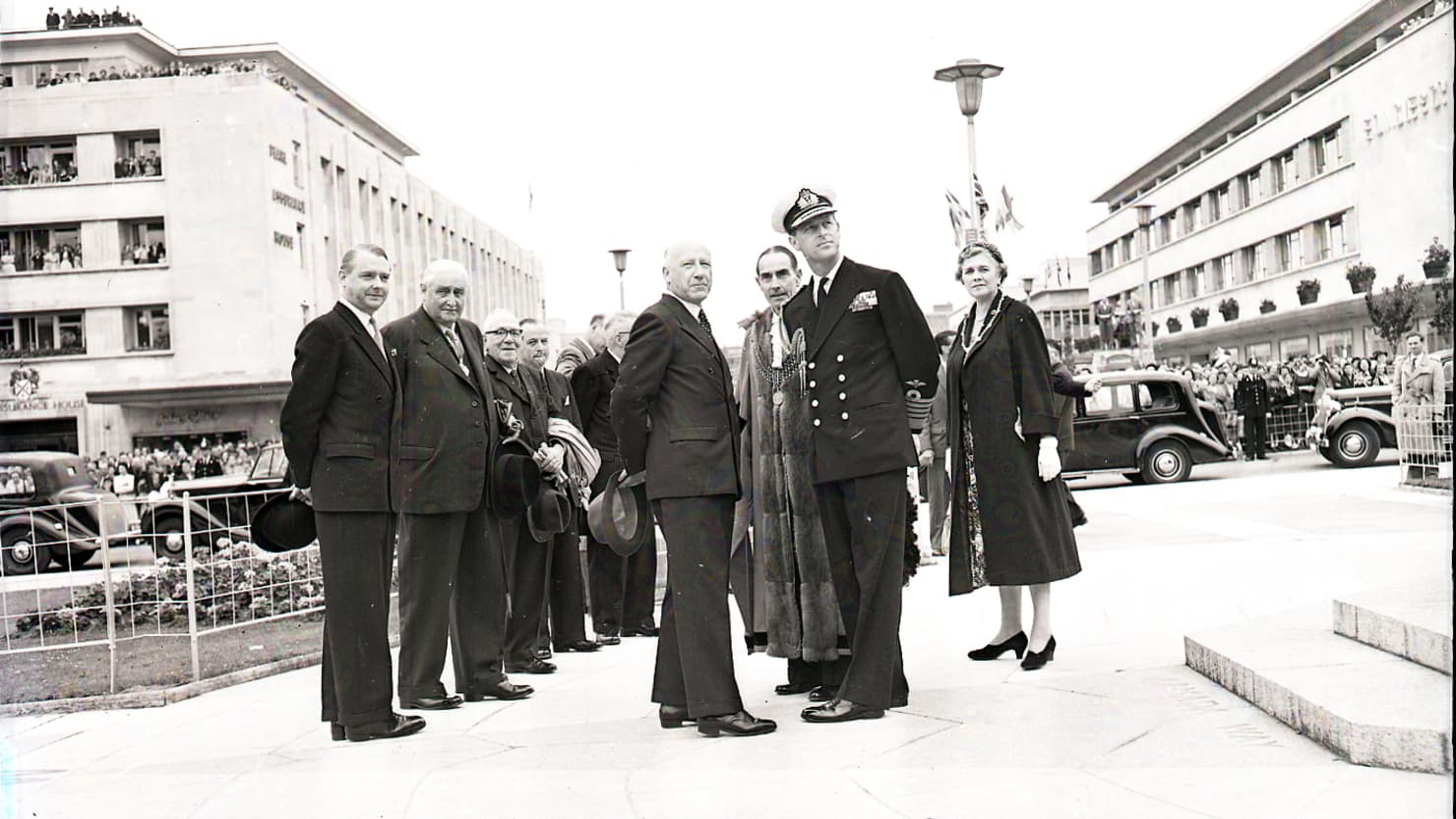 Prince Philip stands on the recently completed Royal Parade with the Lord Mayor and Councillors on 30 July 1958 © Mirrorpix