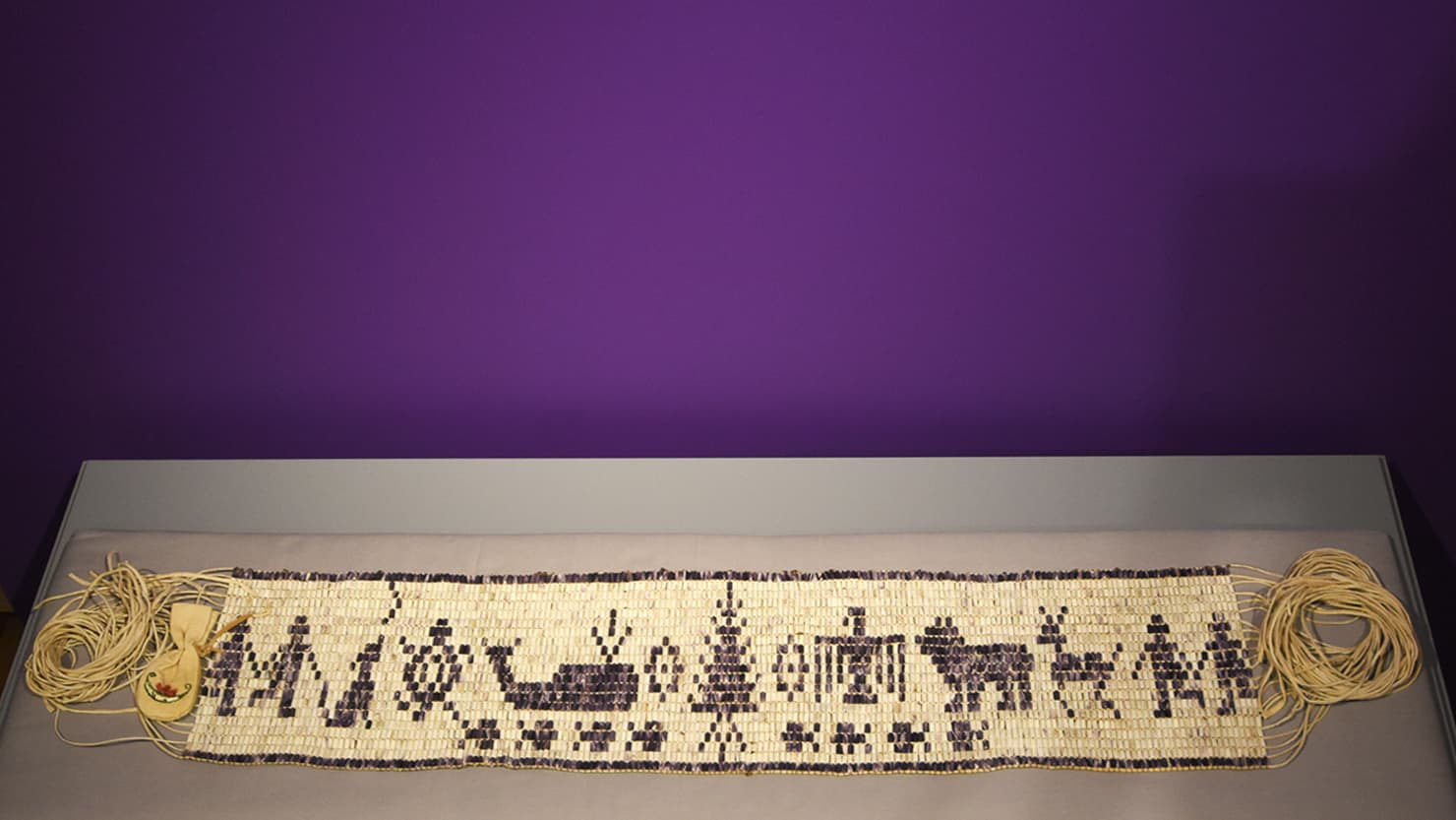 The new wampum belt on display at The Box