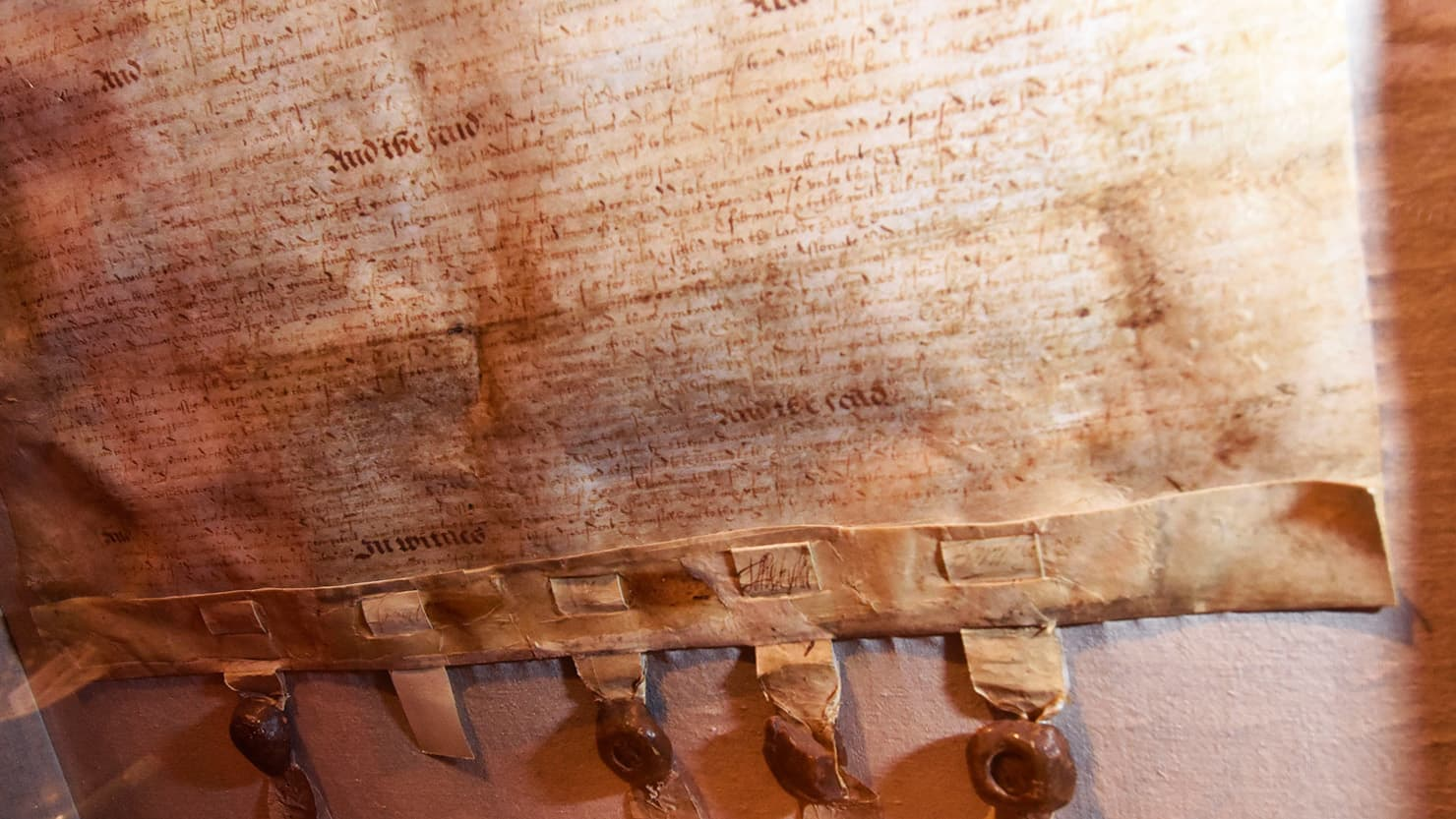 A close up of the Second Peirce Patent on display at The Box, Plymouth