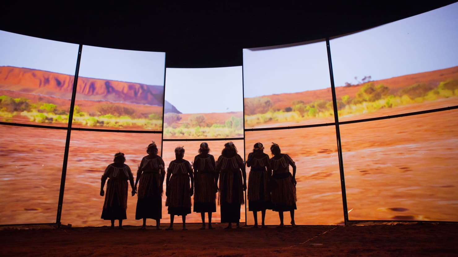 A performance of the Kungkarangkalpa: Seven Sisters songline inma (ceremony) at the National Museum of Australia, Canberra, 2013 Image: National Museum of Australia