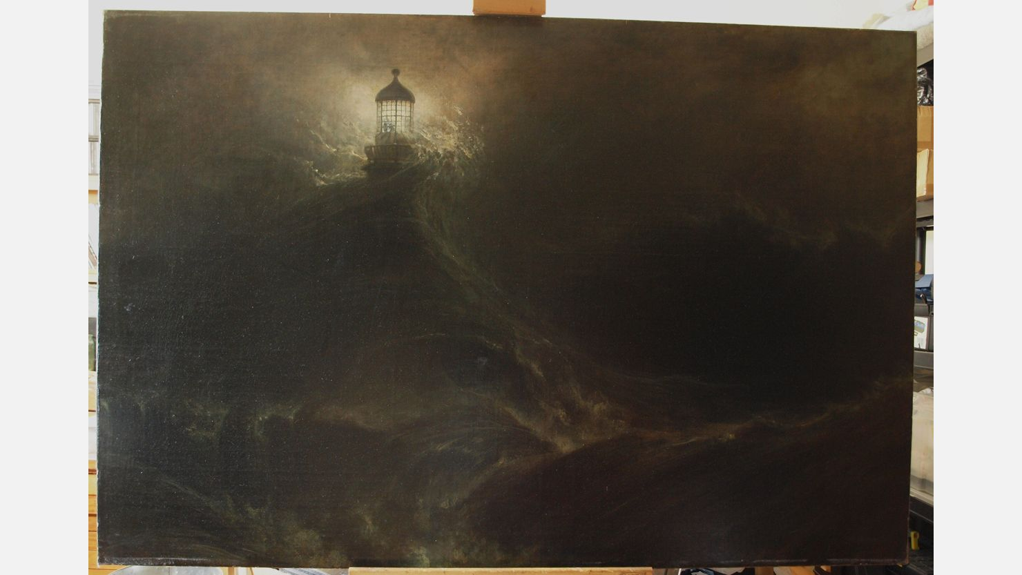 William Daniell's 'Eddystone Lighthouse, During a Storm' before conservation