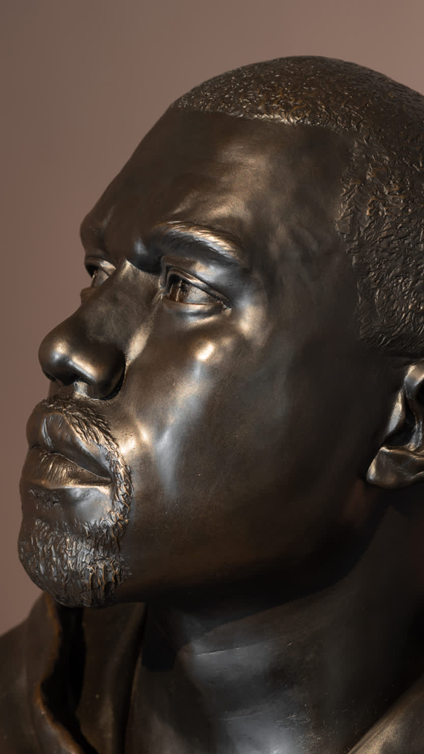 Side profile of Kanye, 2015 by Kehinde Wiley on display in Plymouth's Levinsky Gallery, autumn 2020