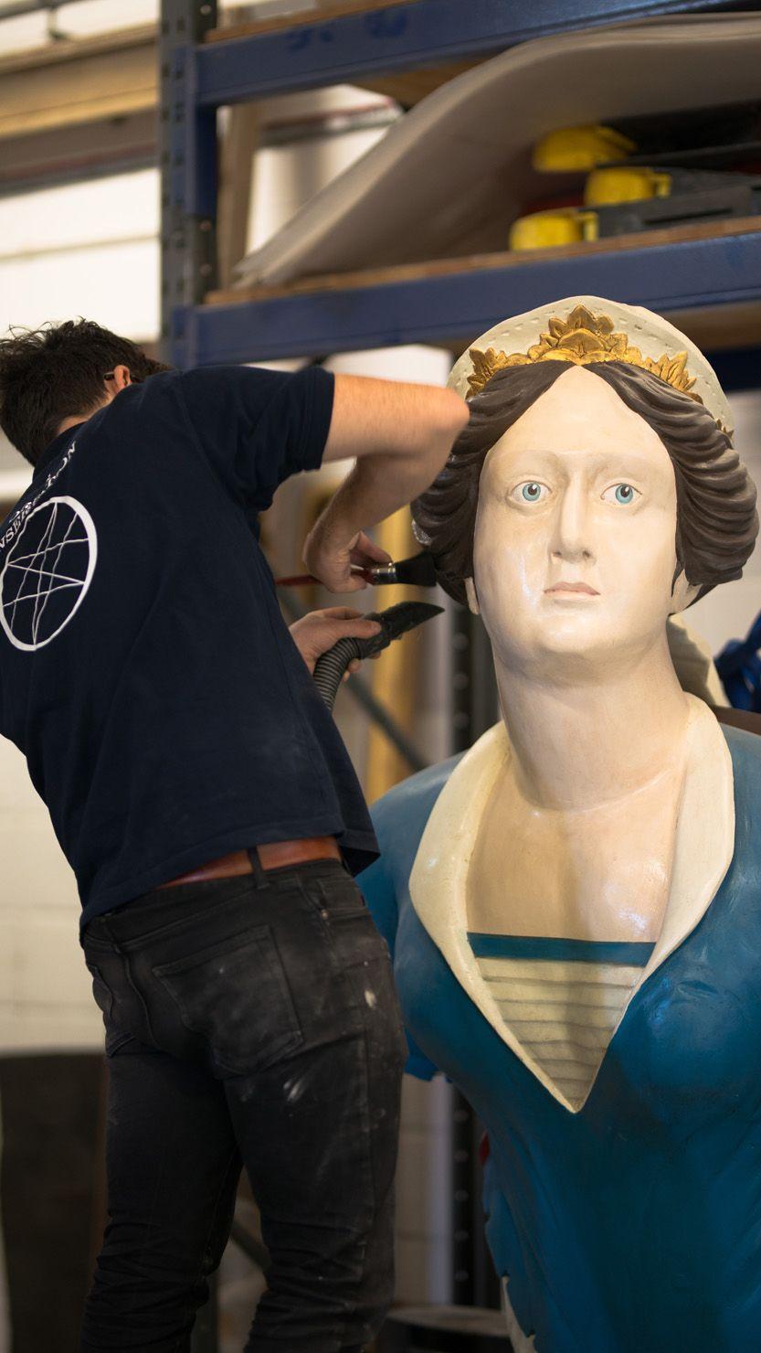 The Topaze figurehead undergoing conservation work