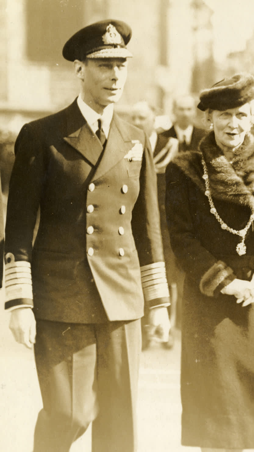 King George VI  pictured with Lady Mayoress Nancy Astor on a visit to Plymouth in March 1941. Courtesy of The Box, Plymouth