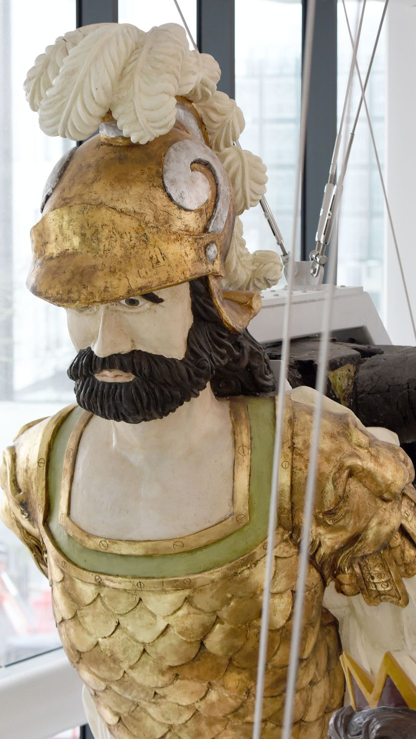 The Defiance figurehead on display at The Box in Plymouth