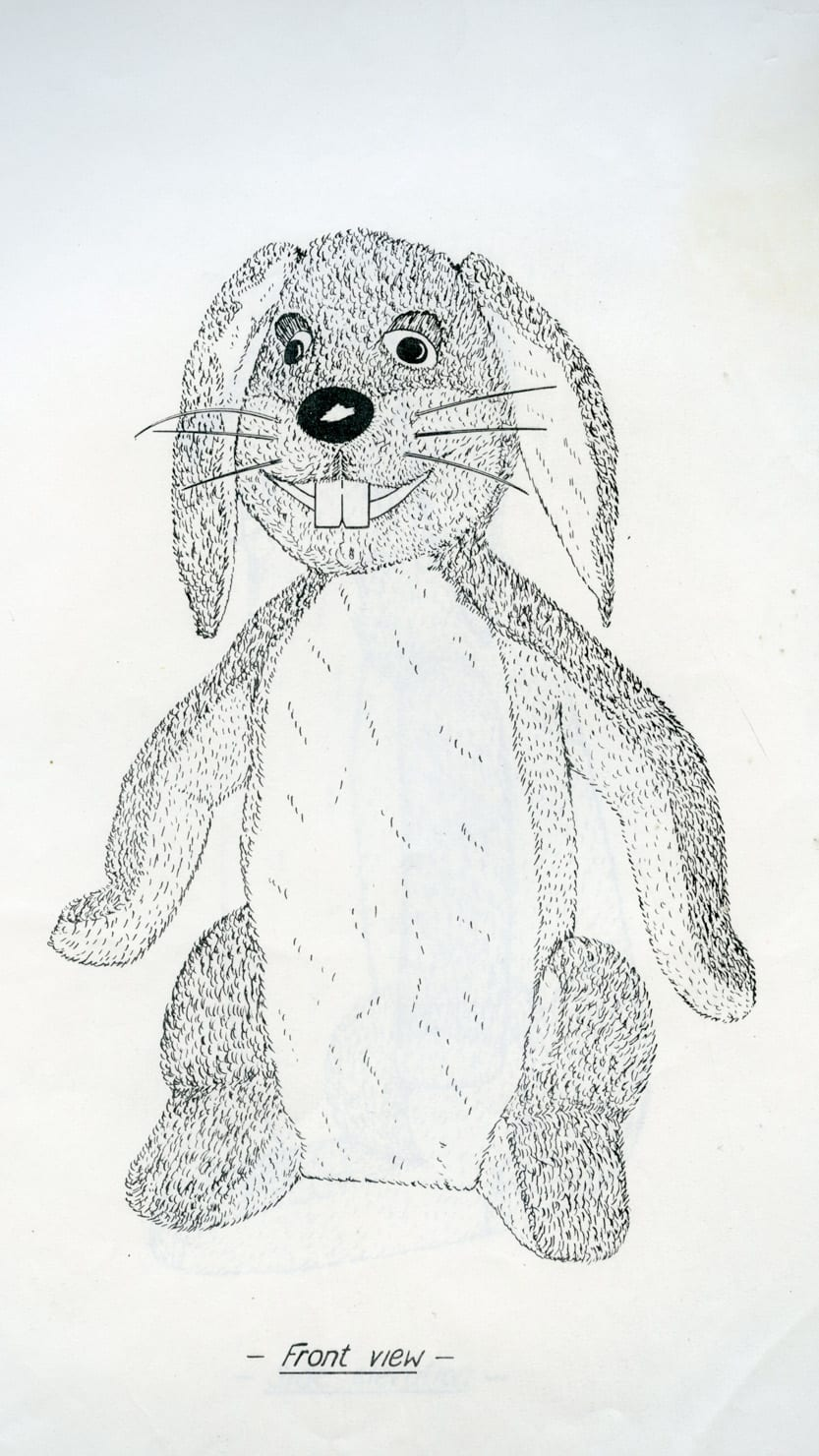 One of the first illustrations of the Gus Honeybun puppet